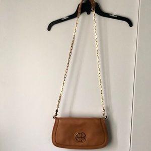 Tory Burch tan leather Reva crossbody bag